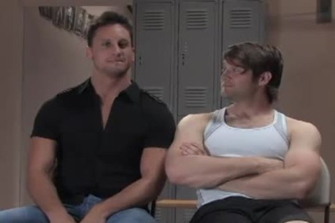 Two Muscle homosexuals bondage plow In Gym