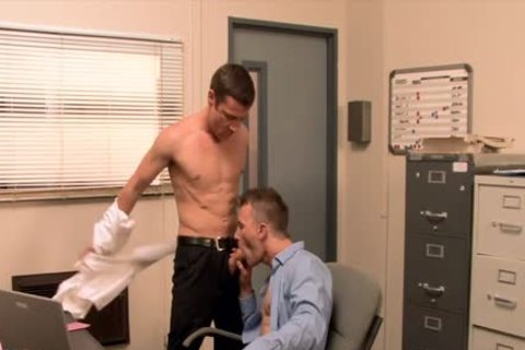 cute gay receives anal team-banged In The Office