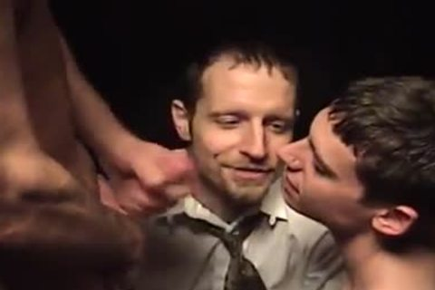 excited homosexual 3some engulfing