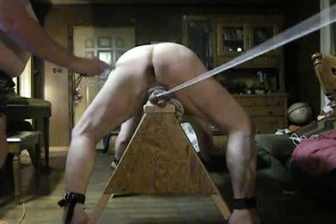corpulent Daddy acquire tied Up On His Sawhorse, Then Spanked And Balls Bashed.