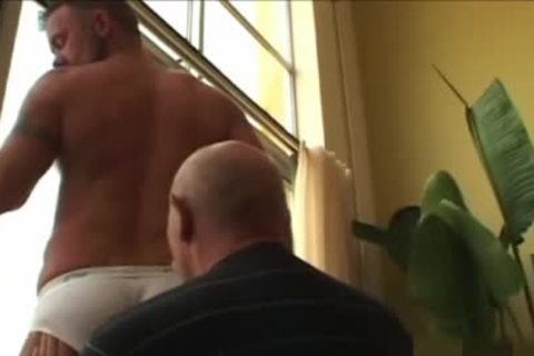 daddy man discharges his load In The jo-bag while drilling A Daddy