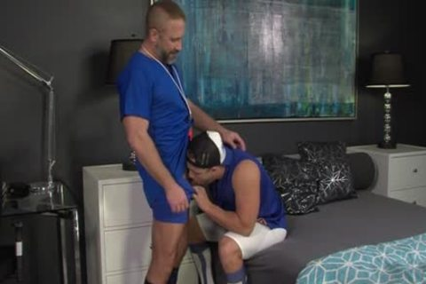 Muscly Young Hung Oversexed homo wang Rides The Dilf trainer In His Pooter