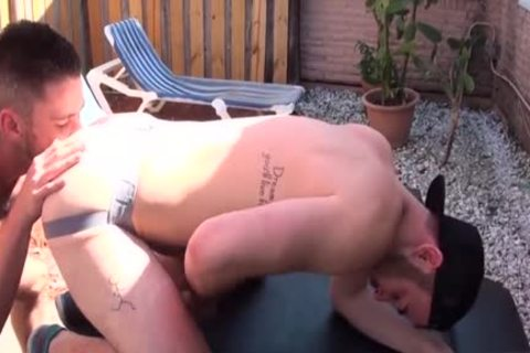 bushy Son anal rimming With goo flow