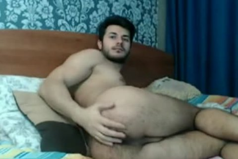 hairy Rear boy Playing On cam