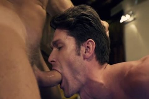 Muscle homosexual 3some With Facial cum