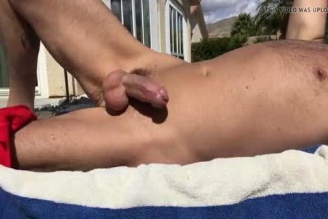 SUNBATHING WITH HARD 10-Pounder OUT AND jerking off