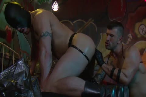 Adam Killian In Latex Forces Jesse Santana To take up with the tongue His wazoo