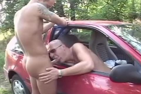 Two excited dudes nail In The Woods In The Back Of His Car