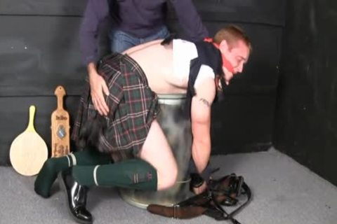 Kilted Cop tied, Spanked, And Jerked Off