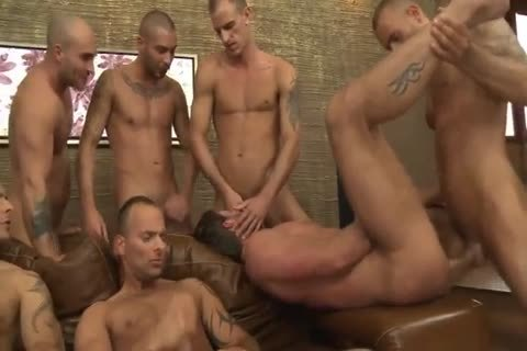 Toby Dutch gets drilled In A Seven-man raw group gangbang