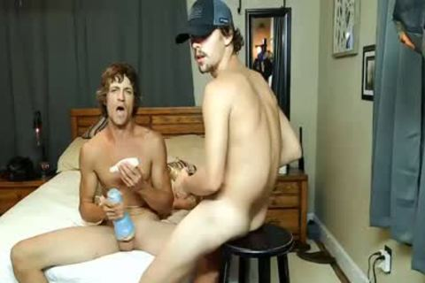 2 daddy homosexual males Masturbate With Fleslight And pound In sofa