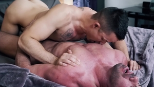 IconMale - Tattooed Nic Sahara and Billy Santoro rimjob